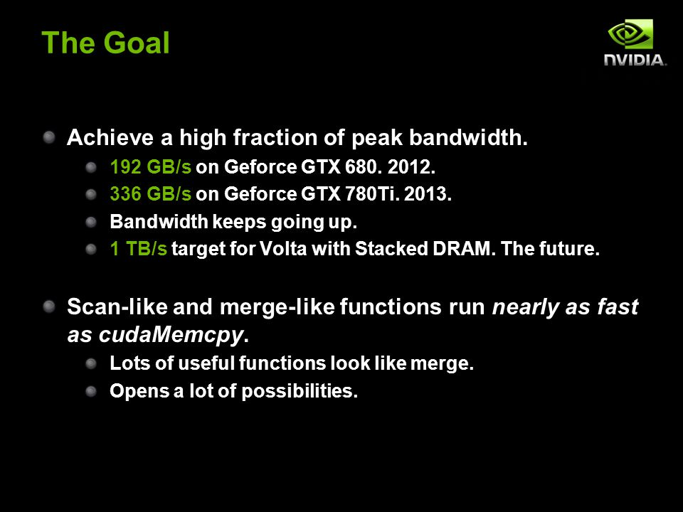 The Goal Achieve a high fraction of peak bandwidth.
