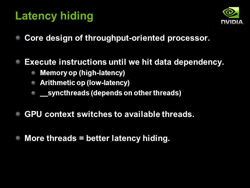 Latency hiding Core design of throughput-oriented processor.