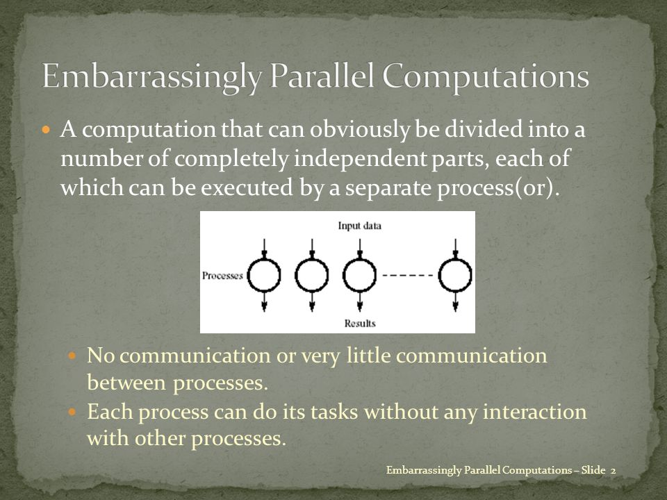A computation that can obviously be divided into a number of completely independent parts, each of which can be executed by a separate process(or).