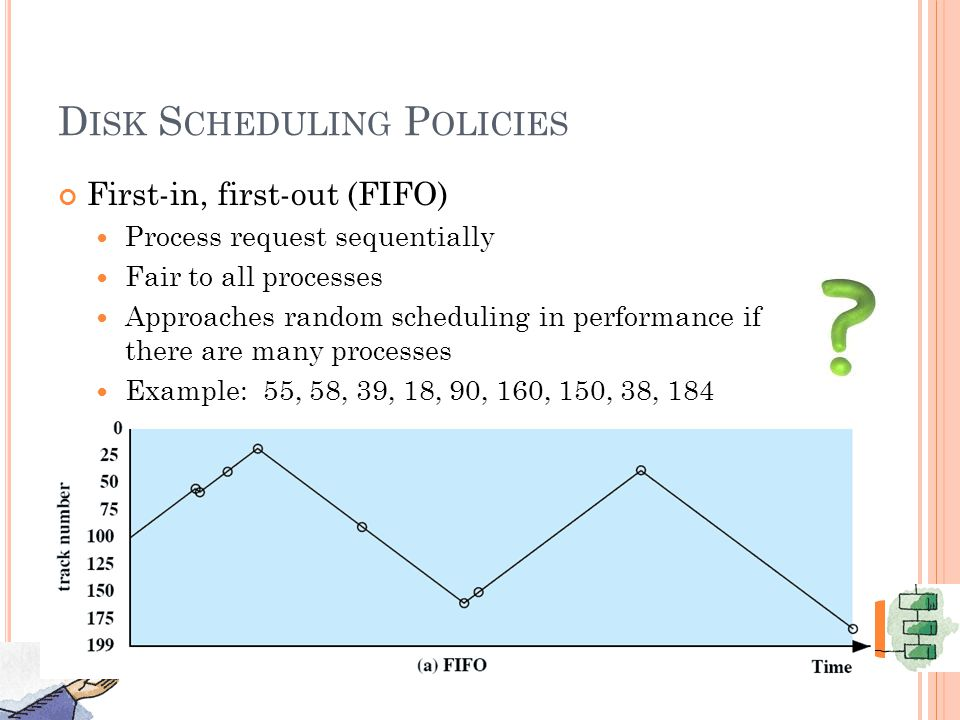 D ISK S CHEDULING P OLICIES First-in, first-out (FIFO) Process request sequentially Fair to all processes Approaches random scheduling in performance if there are many processes Example: 55, 58, 39, 18, 90, 160, 150, 38, 184