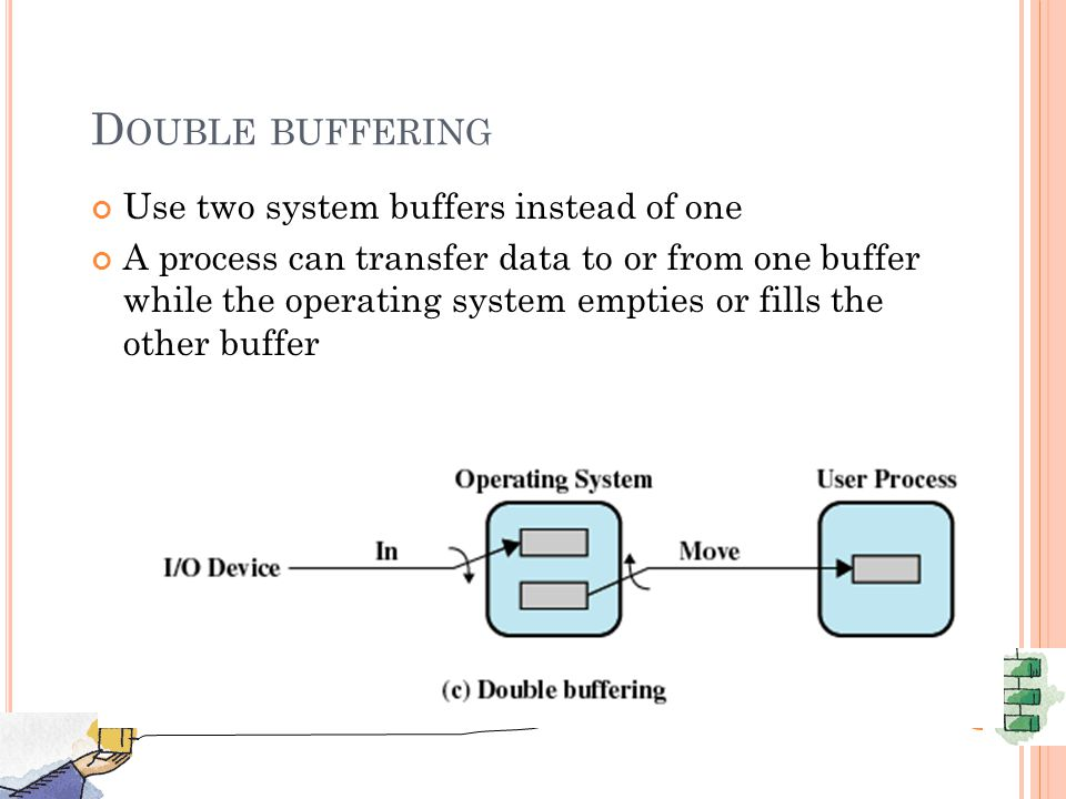 D OUBLE BUFFERING Use two system buffers instead of one A process can transfer data to or from one buffer while the operating system empties or fills the other buffer 41