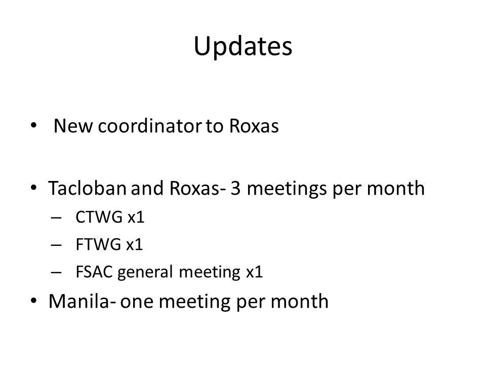 Updates New coordinator to Roxas Tacloban and Roxas- 3 meetings per month – CTWG x1 – FTWG x1 – FSAC general meeting x1 Manila- one meeting per month