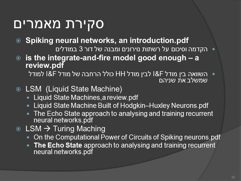 סקירת מאמרים  Spiking neural networks, an introduction.pdf הקדמה וסיכום על רשתות נוירונים ומבנה של דור 3 במודלים  is the integrate-and-fire model good enough – a review.pdf השוואה בין מודל I&F לבין מודל HH כולל הרחבה של מודל I&F למודל שמשלב את שניהם  LSM (Liquid State Machine) Liquid State Machines,a review.pdf Liquid State Machine Built of Hodgkin–Huxley Neurons.pdf The Echo State approach to analysing and training recurrent neural networks.pdf  LSM  Turing Maching On the Computational Power of Circuits of Spiking neurons.pdf The Echo State approach to analysing and training recurrent neural networks.pdf 55