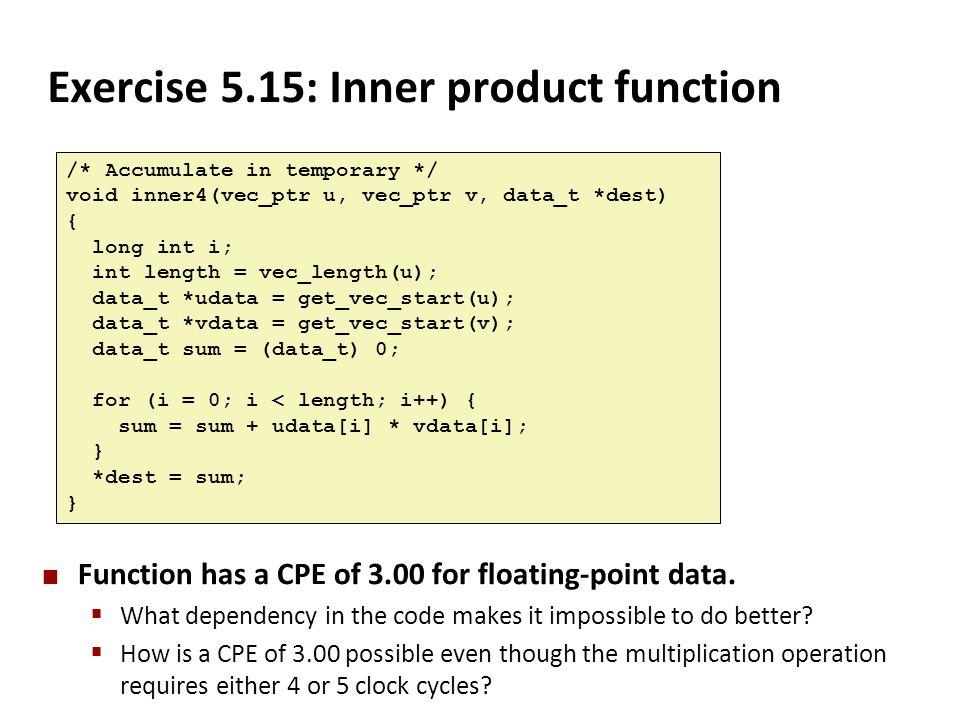 Exercise 5.15: Inner product function /* Accumulate in temporary */ void inner4(vec_ptr u, vec_ptr v, data_t *dest) { long int i; int length = vec_len