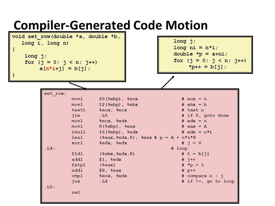 Compiler-Generated Code Motion set_row: movl20(%ebp), %ecx# ecx = n movl12(%ebp), %ebx# ebx = b testl%ecx, %ecx# test n jle.L5# if 0, goto done movl%e