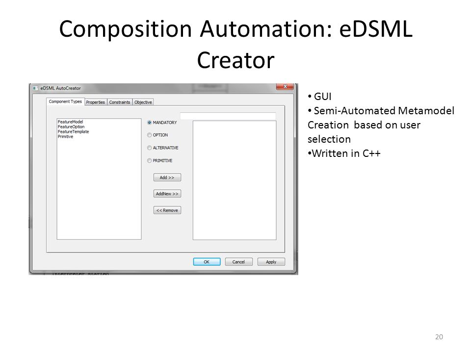 Composition Automation: eDSML Creator 20 GUI Semi-Automated Metamodel Creation based on user selection Written in C++