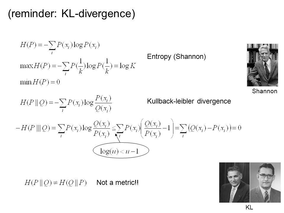 (reminder: KL-divergence) Entropy (Shannon) Kullback-leibler divergence KL Shannon Not a metric!!