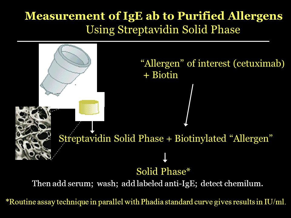 Measurement of IgE ab to Purified Allergens Using Streptavidin Solid Phase Streptavidin Solid Phase + Biotinylated Allergen Allergen of interest (cetuximab ) + Biotin Solid Phase* *Routine assay technique in parallel with Phadia standard curve gives results in IU/ml.