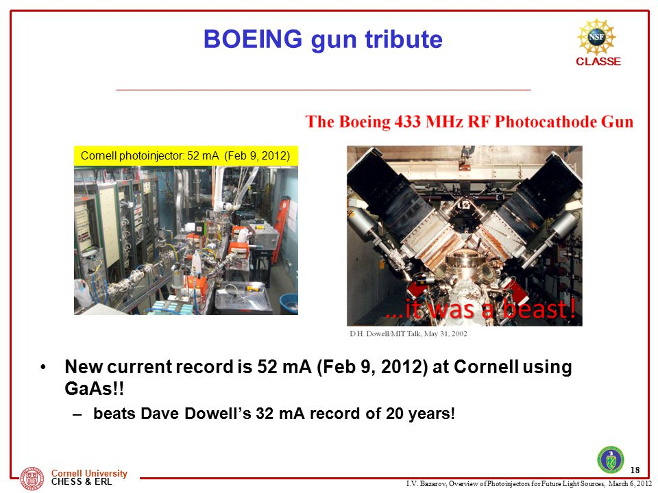 I.V. Bazarov, Overview of Photoinjectors for Future Light Sources, March 6, 2012 CLASSE Cornell University CHESS & ERL BOEING gun tribute New current