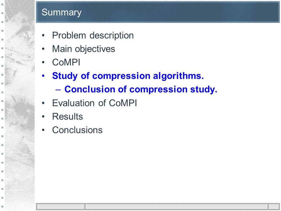 Summary Problem description Main objectives CoMPI Study of compression algorithms. –Conclusion of compression study. Evaluation of CoMPI Results Concl