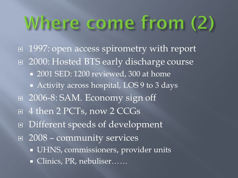  1997: open access spirometry with report  2000: Hosted BTS early discharge course  2001 SED: 1200 reviewed, 300 at home  Activity across hospital, LOS 9 to 3 days  2006-8: SAM.