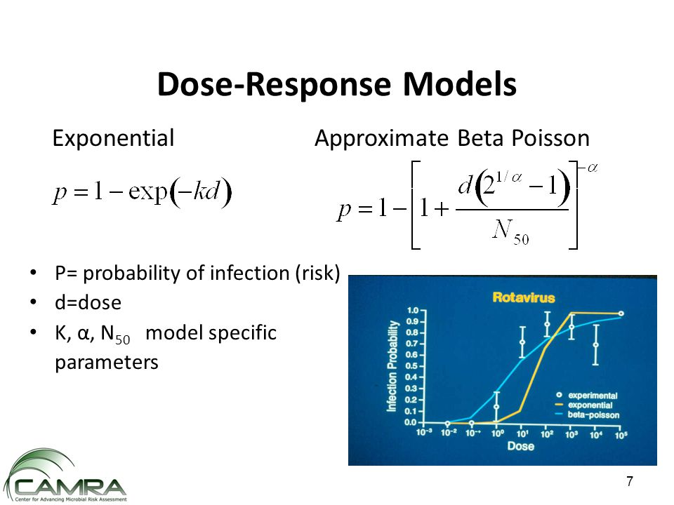 Dose-Response Models P= probability of infection (risk) d=dose K, α, N 50 model specific parameters Exponential Approximate Beta Poisson 7