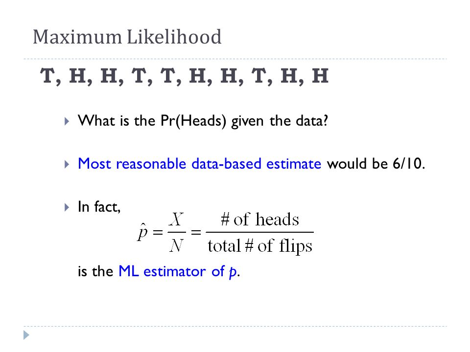 T, H, H, T, T, H, H, T, H, H  What is the Pr(Heads) given the data?  Most reasonable data-based estimate would be 6/10.  In fact, is the ML estimat