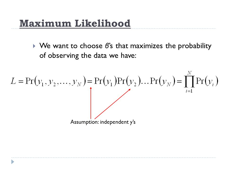 Maximum Likelihood  We want to choose β 's that maximizes the probability of observing the data we have: Assumption: independent y's