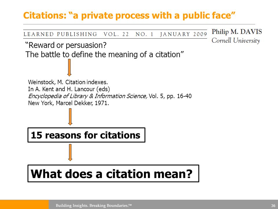 Citations: a private process with a public face 36 Reward or persuasion.