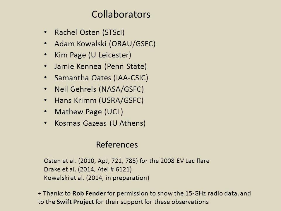 Collaborators Rachel Osten (STScI) Adam Kowalski (ORAU/GSFC) Kim Page (U Leicester) Jamie Kennea (Penn State) Samantha Oates (IAA-CSIC) Neil Gehrels (