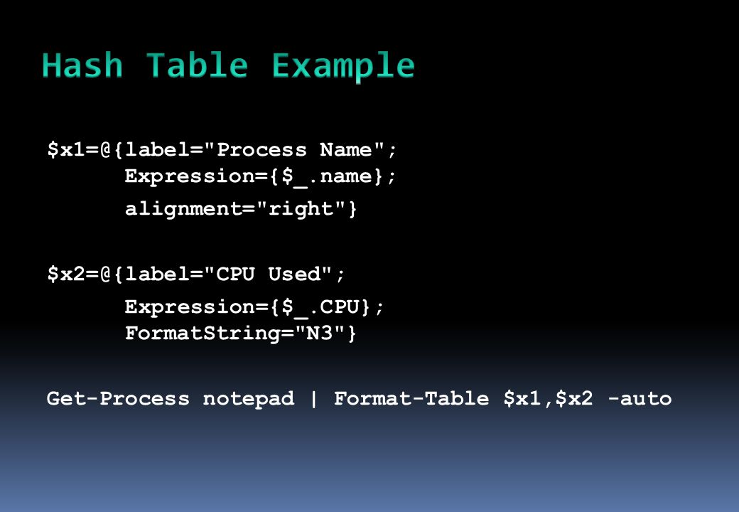 $x1=@{label= Process Name ; Expression={$_.name}; alignment= right } $x2=@{label= CPU Used ; Expression={$_.CPU}; FormatString= N3 } Get-Process notepad | Format-Table $x1,$x2 -auto