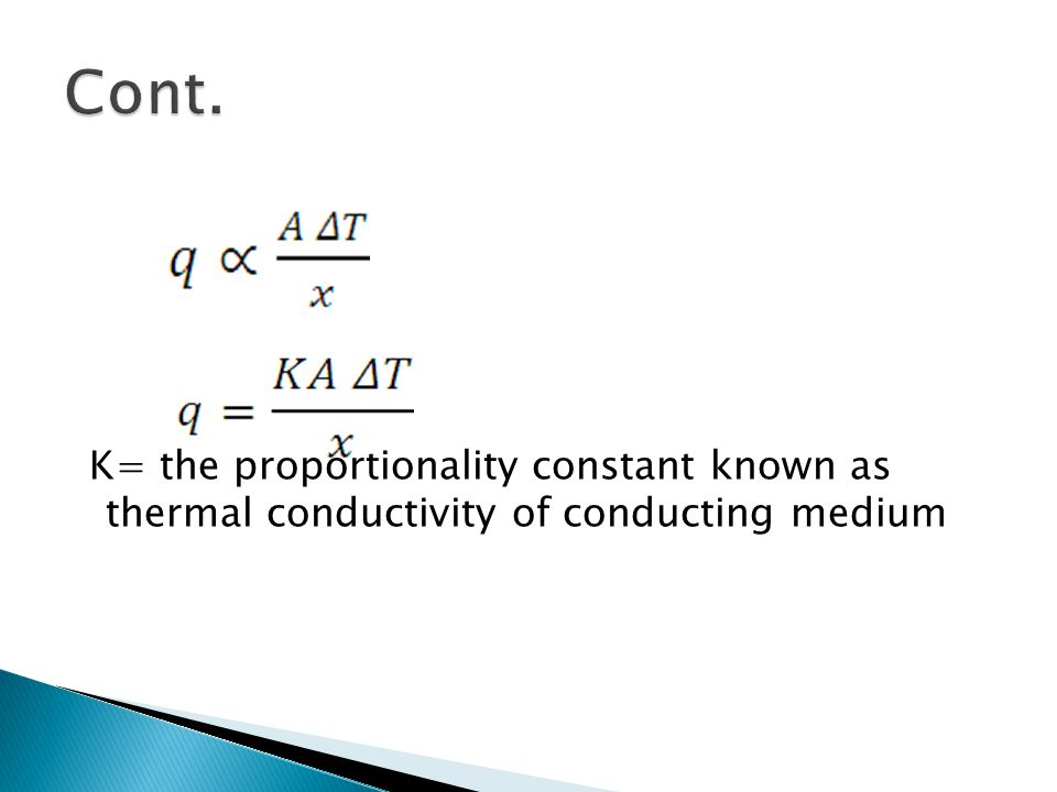 K= the proportionality constant known as thermal conductivity of conducting medium