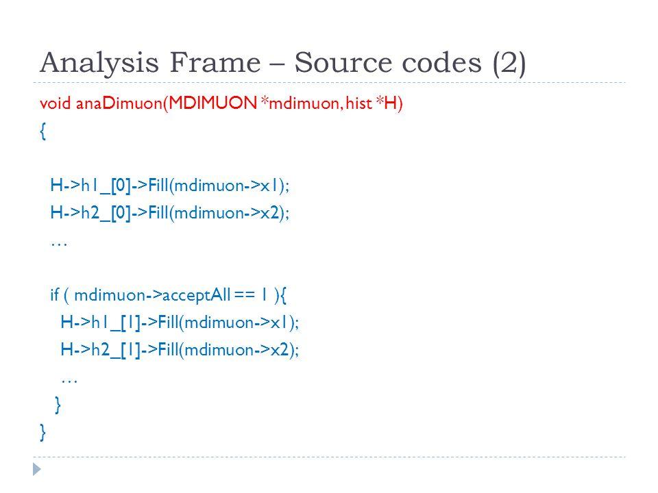 Analysis Frame – Source codes (2) void anaDimuon(MDIMUON *mdimuon, hist *H) { H->h1_[0]->Fill(mdimuon->x1); H->h2_[0]->Fill(mdimuon->x2); … if ( mdimuon->acceptAll == 1 ){ H->h1_[1]->Fill(mdimuon->x1); H->h2_[1]->Fill(mdimuon->x2); … }