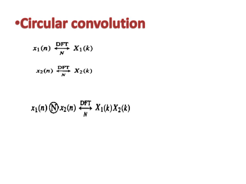 The circular convolution is defined as