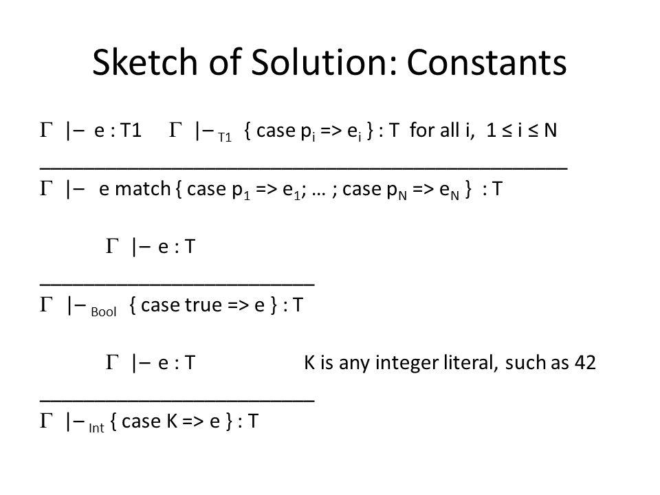 Sketch of Solution: Constants  |– e : T1  |– T1 { case p i => e i } : T for all i, 1 ≤ i ≤ N ________________________________________________  |– e match { case p 1 => e 1 ; … ; case p N => e N } : T  |– e : T _________________________  |– Bool { case true => e } : T  |– e : TK is any integer literal, such as 42 _________________________  |– Int { case K => e } : T