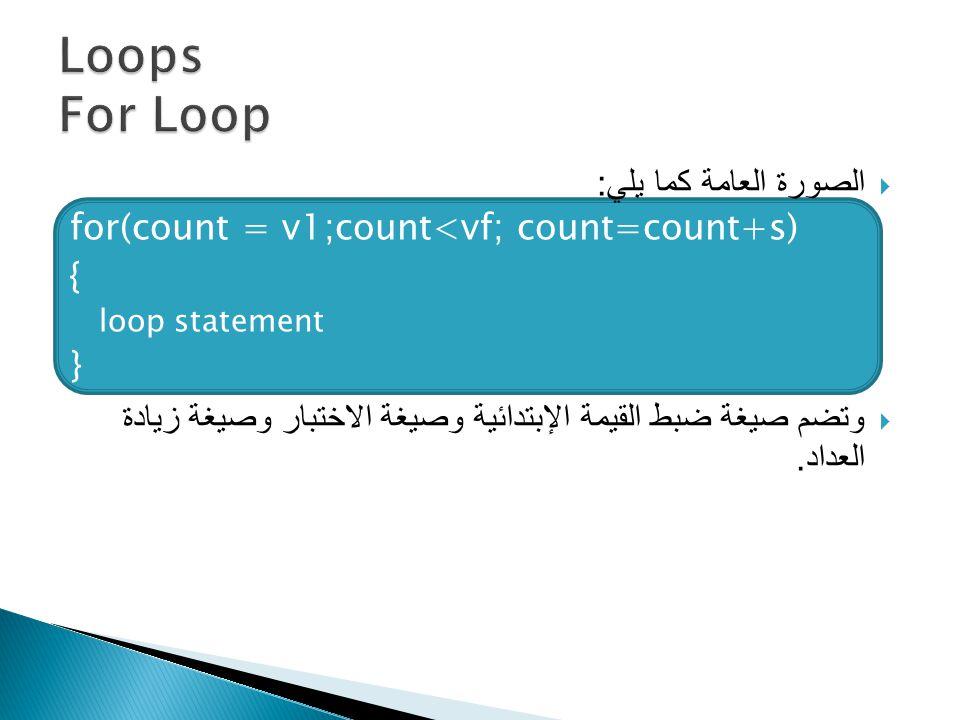  الصورة العامة كما يلي : for(count = v1;count<vf; count=count+s) { loop statement }  وتضم صيغة ضبط القيمة الإبتدائية وصيغة الاختبار وصيغة زيادة العداد.