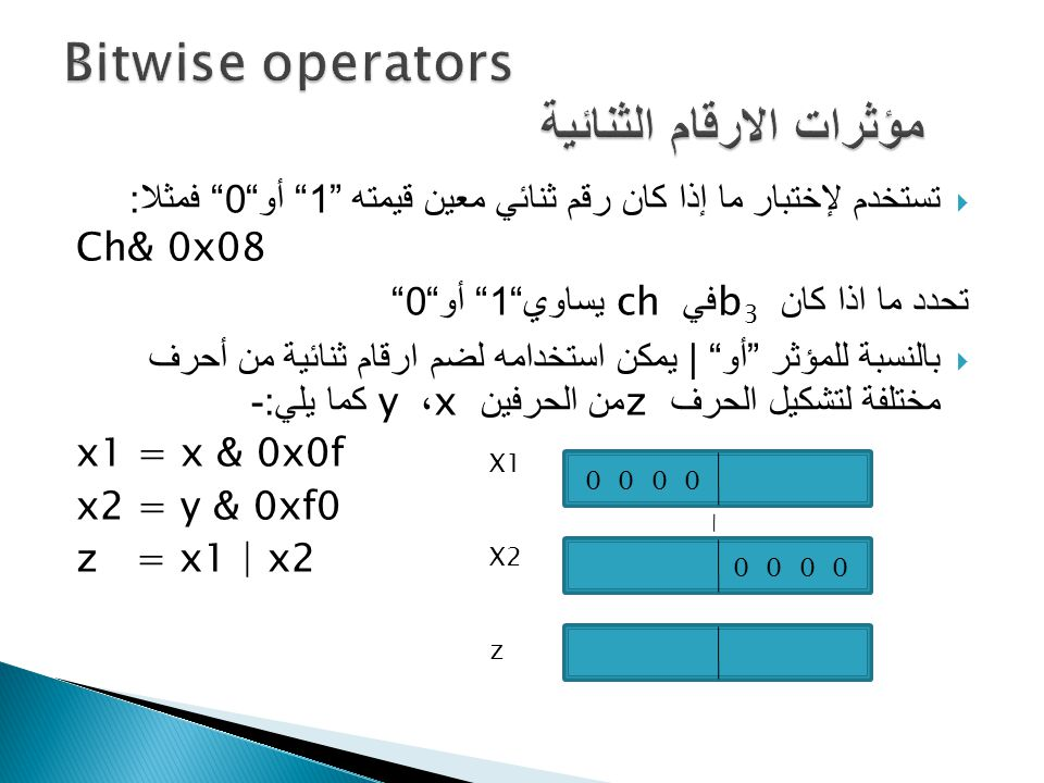  تستخدم لإختبار ما إذا كان رقم ثنائي معين قيمته 1 أو 0 فمثلا : Ch& 0x08 تحدد ما اذا كان b 3 في ch يساوي 1 أو 0  بالنسبة للمؤثر أو | يمكن استخدامه لضم ارقام ثنائية من أحرف مختلفة لتشكيل الحرف z من الحرفين x ، y كما يلي :- x1 = x & 0x0f x2 = y & 0xf0 z = x1 | x2 0 0 0 0 X1 X2 z