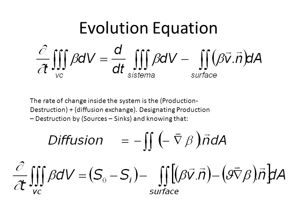 Evolution Equation The rate of change inside the system is the (Production- Destruction) + (diffusion exchange). Designating Production – Destruction