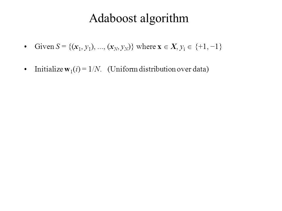 Adaboost algorithm Given S = {(x 1, y 1 ),..., (x N, y N )} where x  X, y i  {+1, −1} Initialize w 1 (i) = 1/N.