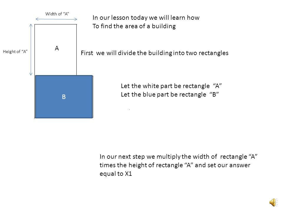 In our lesson today we will learn how To find the area of a building First we will divide the building into two rectangles B A Let the white part be rectangle A Let the blue part be rectangle B