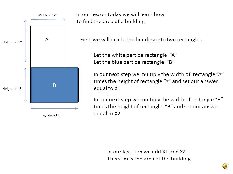 In our lesson today we will learn how To find the area of a building First we will divide the building into two rectangles B A Let the white part be r