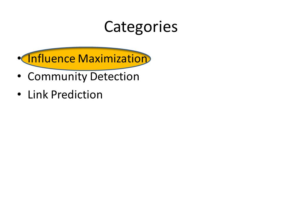 Categories Influence Maximization Community Detection Link Prediction