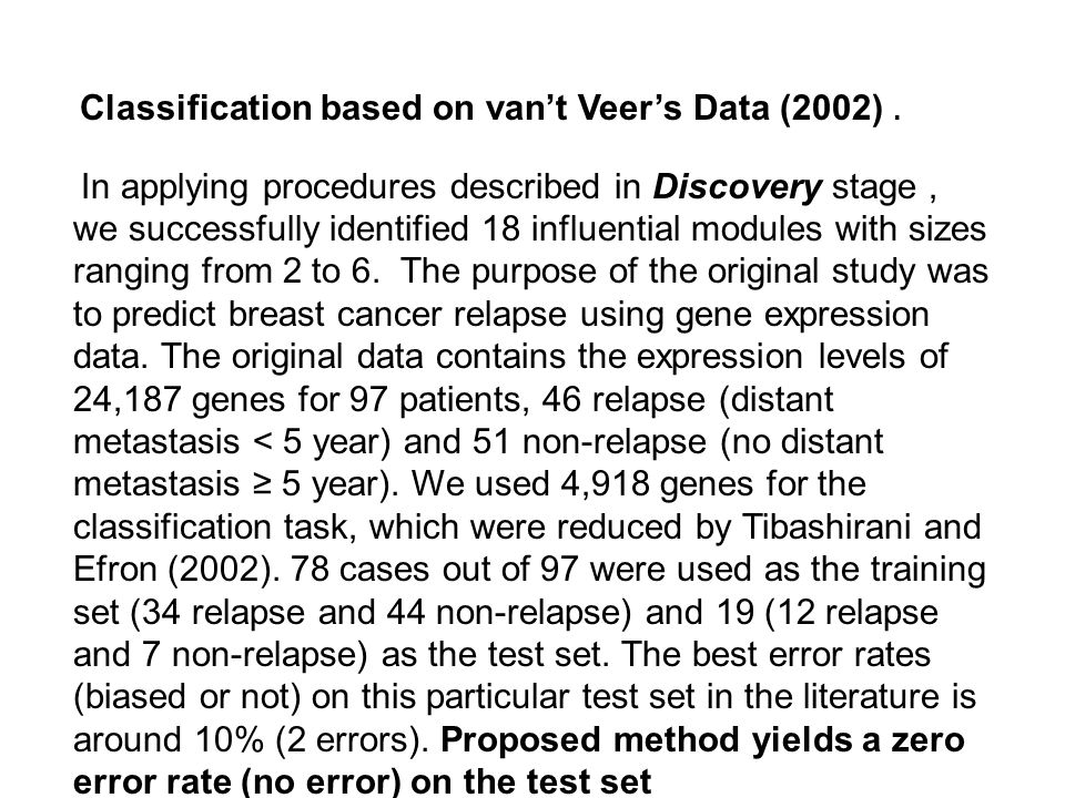 Classification based on van't Veer's Data (2002). In applying procedures described in Discovery stage, we successfully identified 18 influential modul