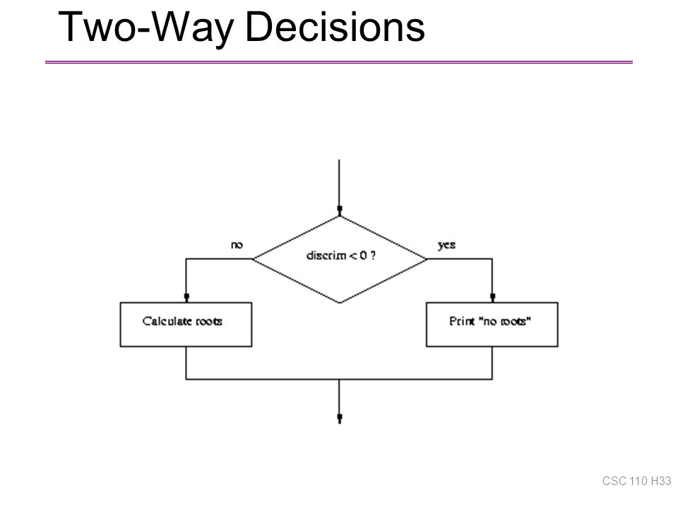 Two-Way Decisions CSC 110 H33