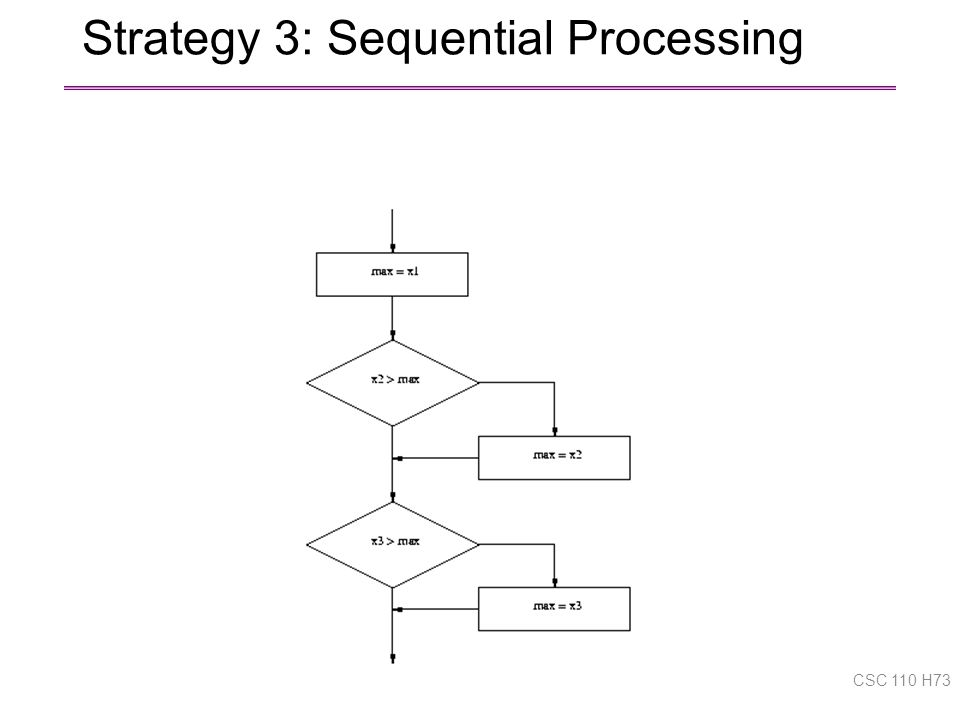 Strategy 3: Sequential Processing CSC 110 H73