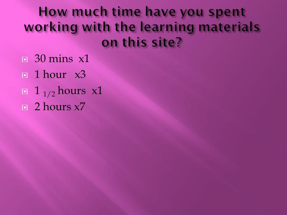  30 mins x1  1 hourx3  1 1/2 hours x1  2 hours x7