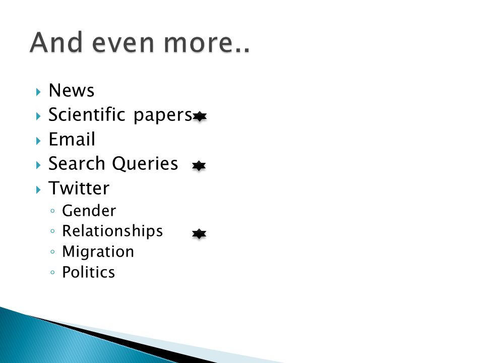  News  Scientific papers  Email  Search Queries  Twitter ◦ Gender ◦ Relationships ◦ Migration ◦ Politics