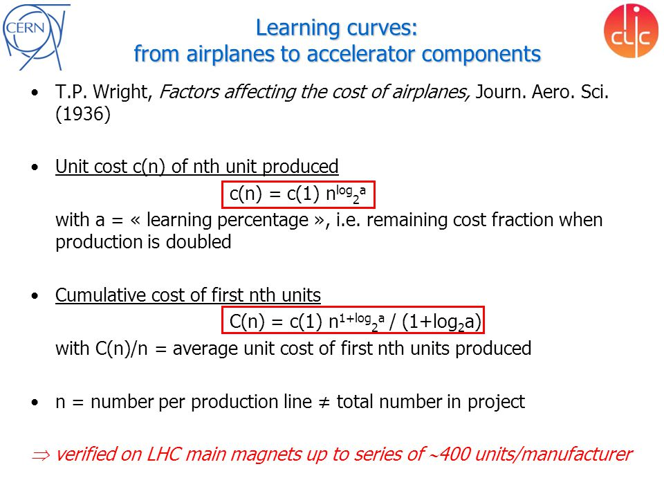 Learning curves: from airplanes to accelerator components T.P. Wright, Factors affecting the cost of airplanes, Journ. Aero. Sci. (1936) Unit cost c(n