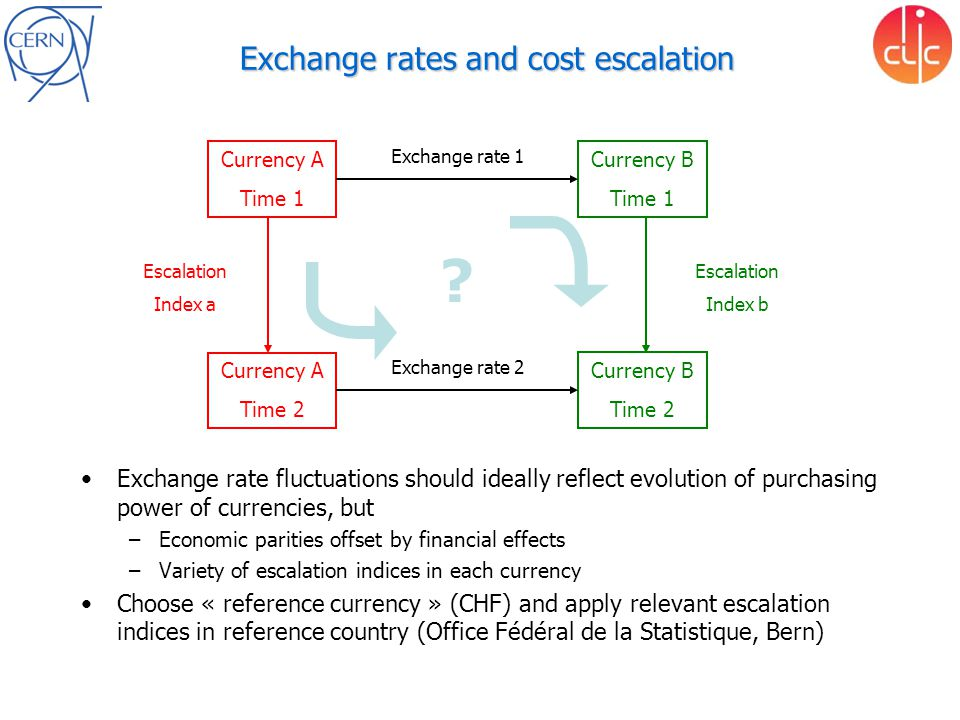 Exchange rates and cost escalation Exchange rate fluctuations should ideally reflect evolution of purchasing power of currencies, but –Economic pariti