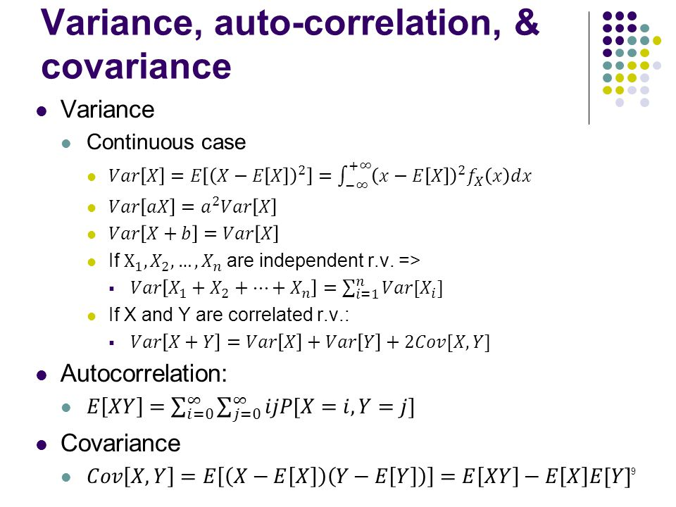 19 Variance, auto-correlation, & covariance