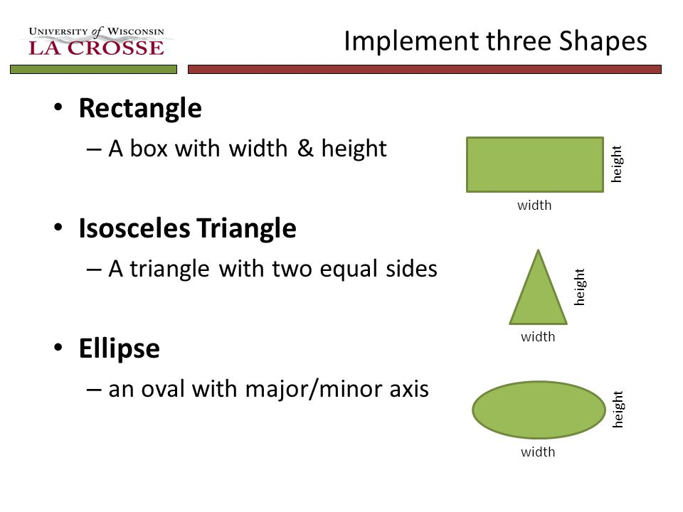 Implement three Shapes Rectangle – A box with width & height Isosceles Triangle – A triangle with two equal sides Ellipse – an oval with major/minor a