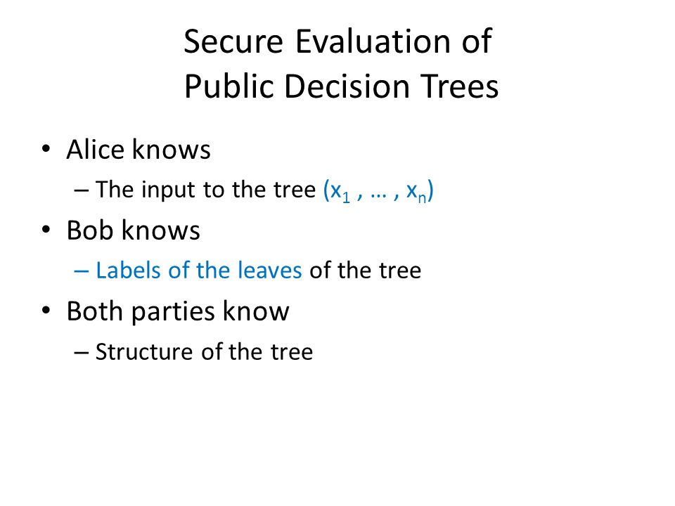 Secure Evaluation of Public Decision Trees Alice knows – The input to the tree (x 1, …, x n ) Bob knows – Labels of the leaves of the tree Both partie