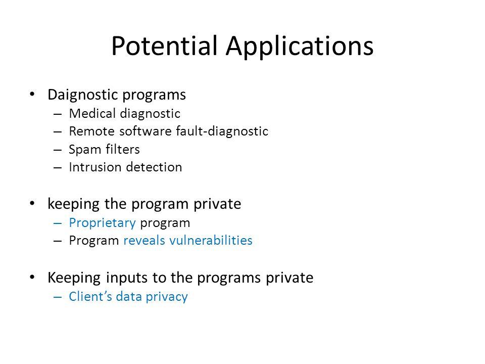 Potential Applications Daignostic programs – Medical diagnostic – Remote software fault-diagnostic – Spam filters – Intrusion detection keeping the pr