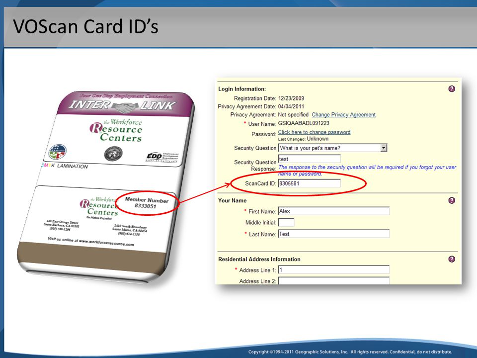 VOScan Card ID's
