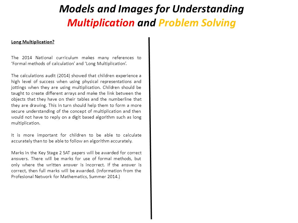 Models and Images for Understanding Multiplication and Problem Solving Long Multiplication.