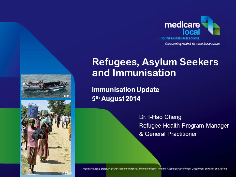Refugees, Asylum Seekers and Immunisation Immunisation Update 5 th August 2014 Dr.