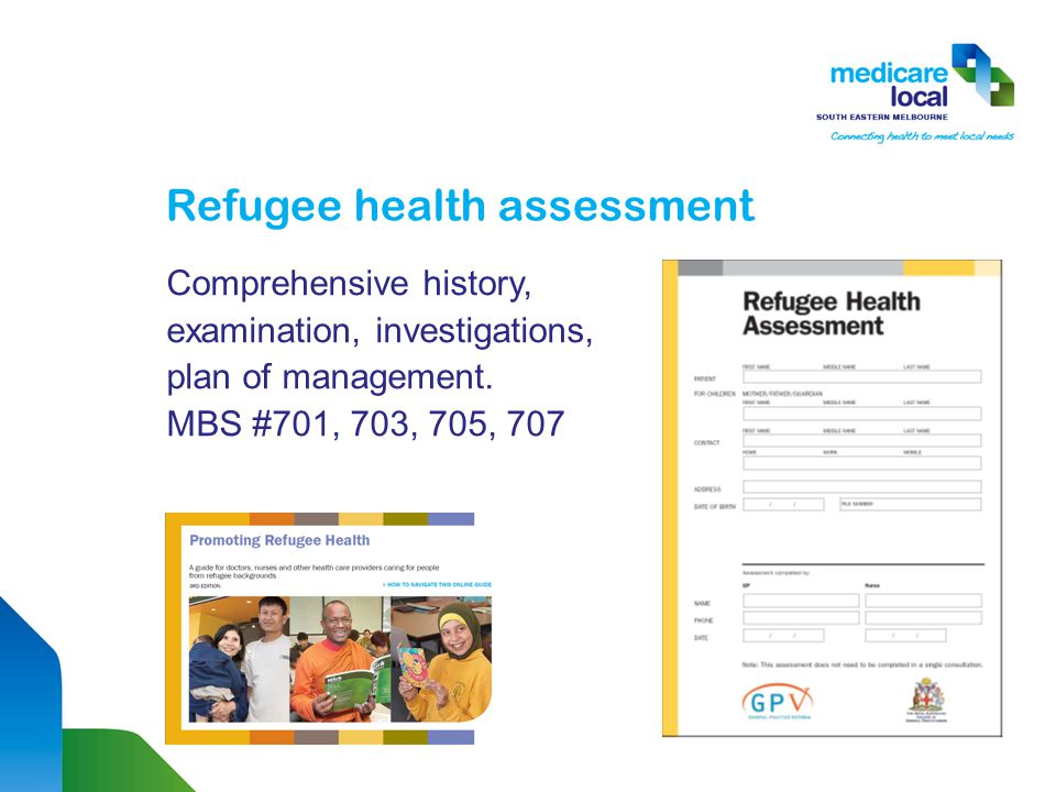 Refugee health assessment Comprehensive history, examination, investigations, plan of management.