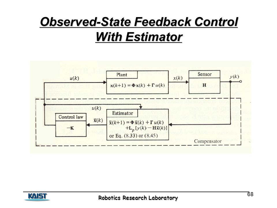 Robotics Research Laboratory 68 Observed-State Feedback Control With Estimator