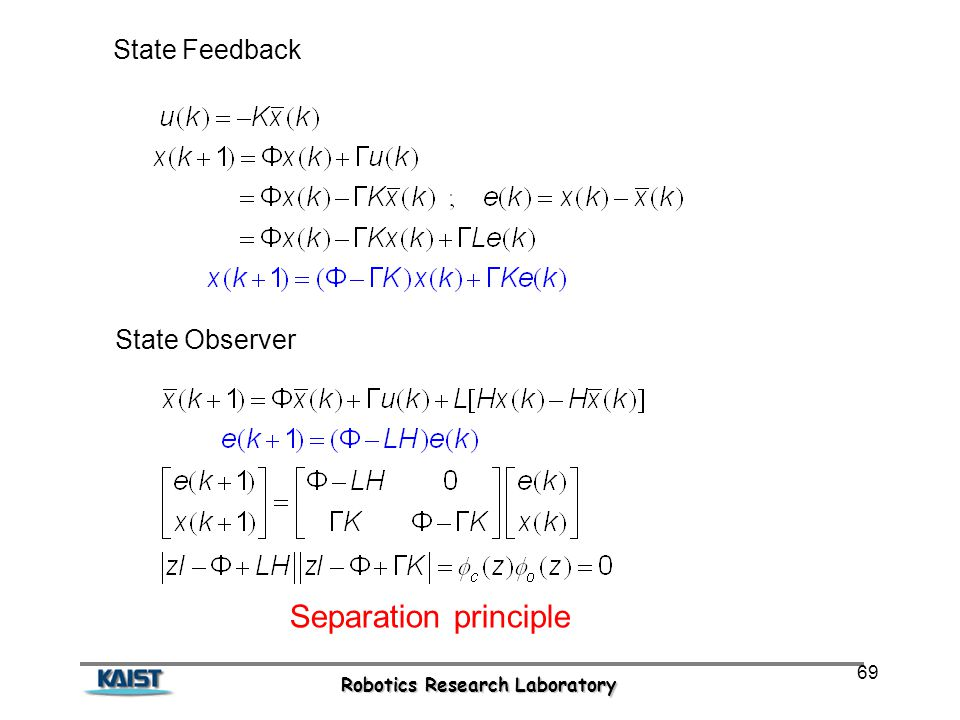 Robotics Research Laboratory 69 State Feedback Separation principle State Observer