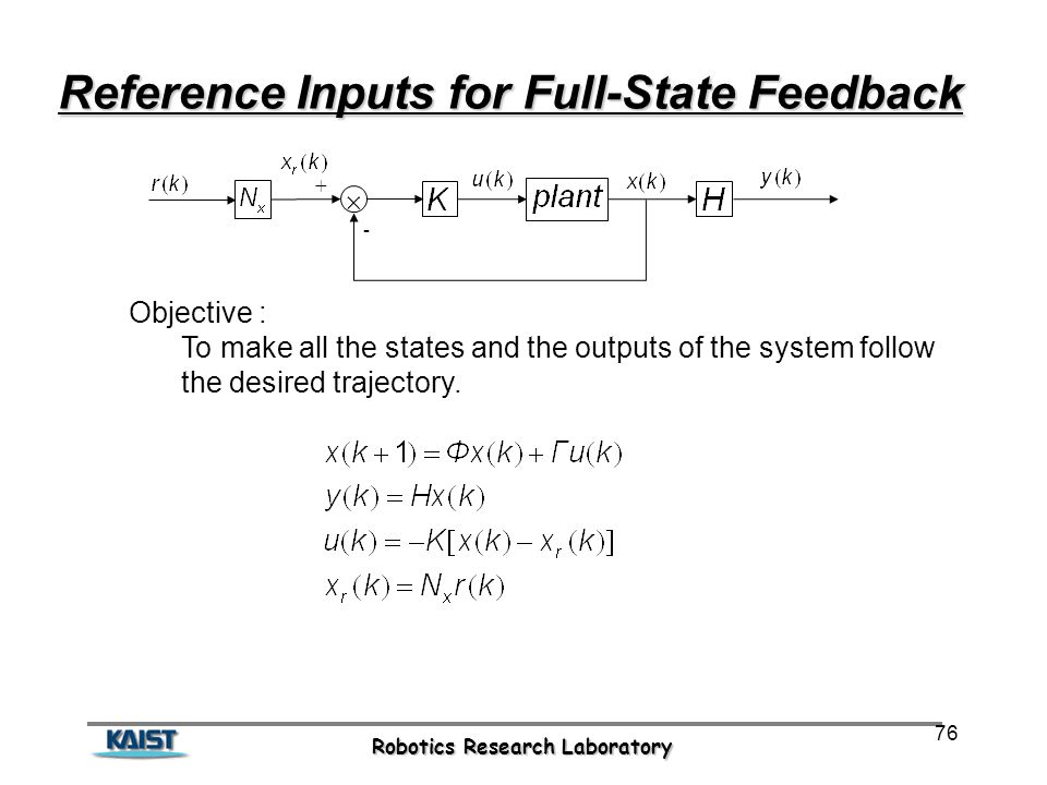Robotics Research Laboratory 76 Reference Inputs for Full-State Feedback  - + Objective : To make all the states and the outputs of the system follow the desired trajectory.